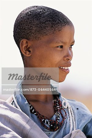 Portrait of Bushman Child Outdoors Namibia, Africa Stock Photo - Rights-Managed, Image code: 873-06440564