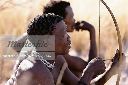 Bushman Hunters with Bow and Arrow Namibia, Africa Stock Photo - Rights-Managed, Image code: 873-06440567
