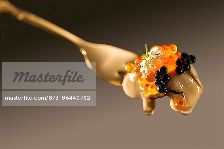 Oyster and Caviar on Fork Stock Photo - Rights-Managed, Image code: 873-06440782