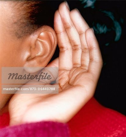 Woman Cupping Ear Stock Photo - Rights-Managed, Image code: 873-06440788