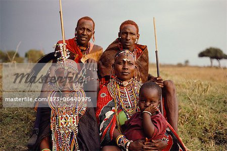 Group Of Masai People in Traditional Dress Stock Photo - Rights-Managed, Image code: 873-06440975