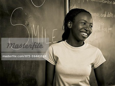 Teenage Girl at Blackboard Stock Photo - Rights-Managed, Image code: 873-06441069