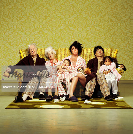 Three generation family sitting sick in sofa Stock Photo - Rights-Managed, Image code: 877-06834170
