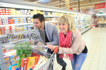 France, supermarket, happy customers. Stock Photo - Rights-Managed, Image code: 877-06835746