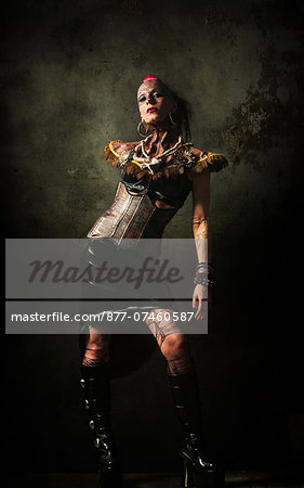 Alternative woman poses in studio Stock Photo - Rights-Managed, Image code: 877-07460587