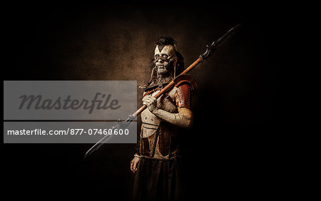 Tribal warrior after the battle Stock Photo - Rights-Managed, Image code: 877-07460600