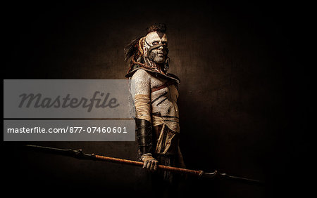 Tribal Warrior Profile Stock Photo - Rights-Managed, Image code: 877-07460601