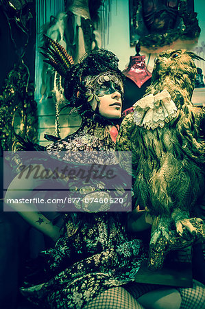 Néo Baroque woman with a owl Stock Photo - Rights-Managed, Image code: 877-07460620