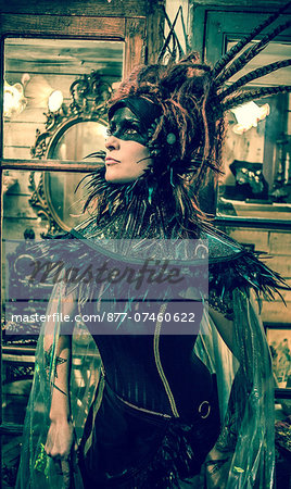 Profile of a neo-baroque woman with neck brace and transparent cloak Stock Photo - Rights-Managed, Image code: 877-07460622
