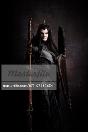 Dark Elf ready for battle Stock Photo - Rights-Managed, Image code: 877-07460634