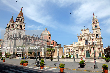 Italy, Sicily, province of Catania, Acireale, del Duomo square, the cathedral and san  Pietro e Paolo church Stock Photo - Rights-Managed, Image code: 877-08128095