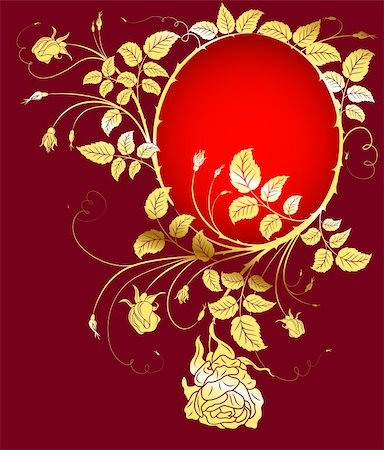 rose flower in oval vector - Gold flower background with frame, element for design, vector illustration Stock Photo - Budget Royalty-Free & Subscription, Code: 400-04006540