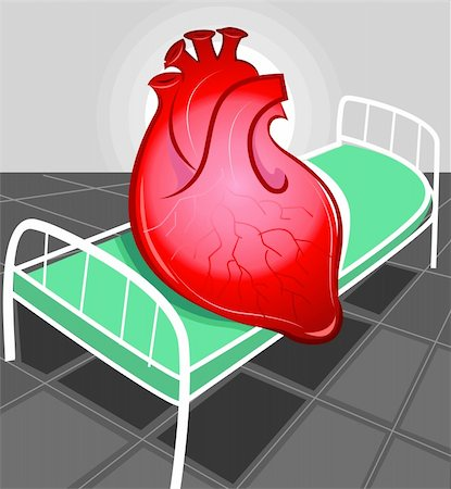 Illustration of heart in hospital bed Stock Photo - Budget Royalty-Free & Subscription, Code: 400-04008694