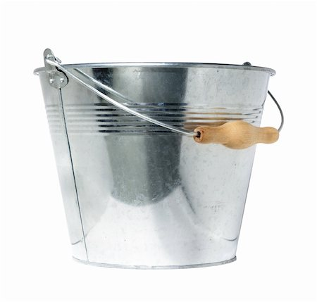 Galvanized steel bucket, isolated, on white background Stock Photo - Budget Royalty-Free & Subscription, Code: 400-04009939