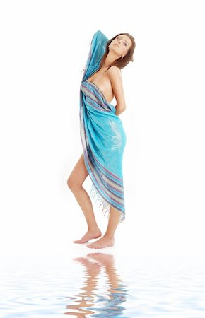 naked girl with blue sarong on white sand Stock Photo - Budget Royalty-Free & Subscription, Code: 400-04001411