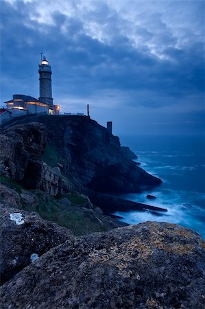 Mayor of Cape Lighthouse getting dark, Santander (Spain) Stock Photo - Budget Royalty-Free & Subscription, Code: 400-04001754