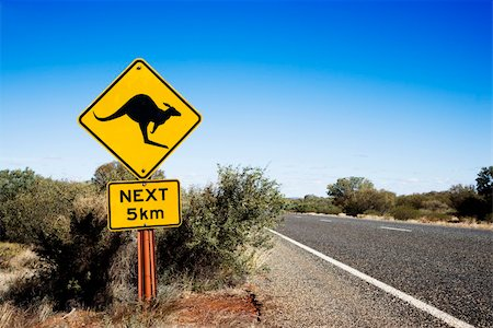 Kangaroo crossing sign by road in rural Australia. Stock Photo - Budget Royalty-Free & Subscription, Code: 400-04002806