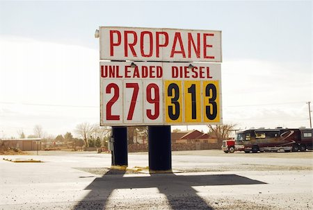 rural gas station - Billboard advertising the price of propane, diesel and unleaded gasoline. Stock Photo - Budget Royalty-Free & Subscription, Code: 400-04003704