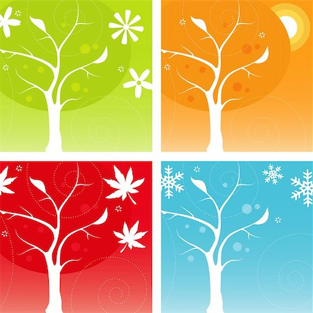 Stylized Four Seasons Icon Set, easy-edit vector file Stock Photo - Budget Royalty-Free & Subscription, Code: 400-04014700