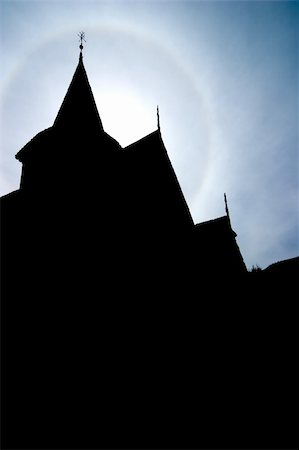 stave - A silhouette of an old Norwegian Stave Church Stock Photo - Budget Royalty-Free & Subscription, Code: 400-04015133