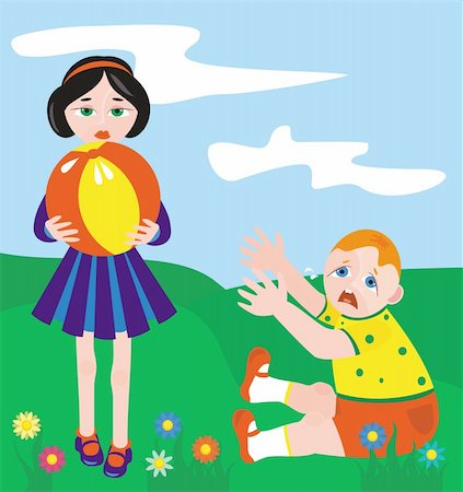 The illustration representing the girl with a ball in hands and the thick boy which too wishes to play Stock Photo - Budget Royalty-Free & Subscription, Code: 400-04024718