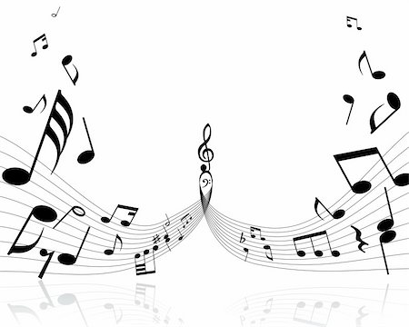 quarter note - Musical notes background with lines. Vector illustration. Stock Photo - Budget Royalty-Free & Subscription, Code: 400-04024745