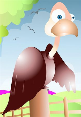 Illustration of a cartoon vulture Stock Photo - Budget Royalty-Free & Subscription, Code: 400-04026386