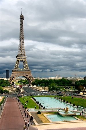 Storm clouds on the Eiffel Tower, Paris (France) Stock Photo - Budget Royalty-Free & Subscription, Code: 400-04027716
