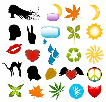 Vector symbols, nature icons and human silhouettes clip-art set Stock Photo - Budget Royalty-Free & Subscription, Code: 400-04027889
