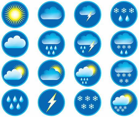 Symbols for the indication of weather. Vector illustration. Stock Photo - Budget Royalty-Free & Subscription, Code: 400-04028446