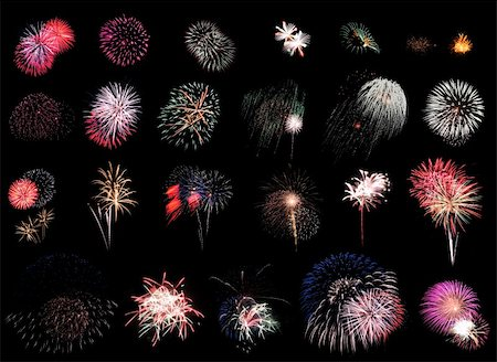 """25 individual fireworks explosions on black background.      Using """"Blending Modes"""" in Photoshop you can cut & paste these right on top of each other w/o the black overlapping!"" Stock Photo - Budget Royalty-Free & Subscription, Code: 400-04020537"