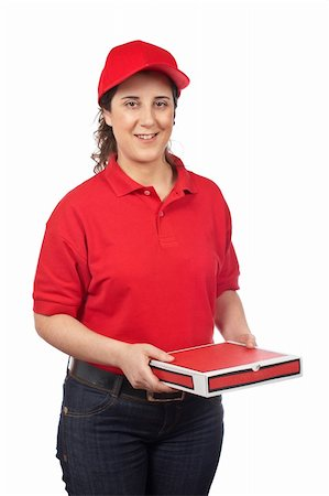 fat italian woman - A pizza delivery woman holding a hot pizza. Isolated on white Stock Photo - Budget Royalty-Free & Subscription, Code: 400-04021545