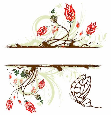 simsearch:400-03995944,k - Grunge paint flower background with butterfly, element for design, vector illustration Stock Photo - Budget Royalty-Free & Subscription, Code: 400-04022671