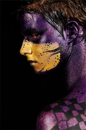 young male model wearing artistic bodypaint drawing Stock Photo - Budget Royalty-Free & Subscription, Code: 400-04022773