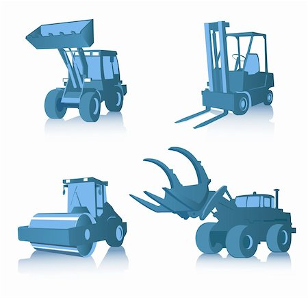 Vector set of four industrial machines Stock Photo - Budget Royalty-Free & Subscription, Code: 400-04023644