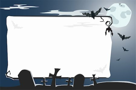 Vector Halloween illustration of a scary night cemetery with full moon and bats Stock Photo - Budget Royalty-Free & Subscription, Code: 400-04035765