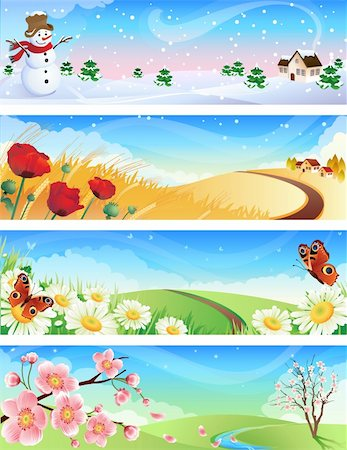 Vector illustration - four seasons landscapes Stock Photo - Budget Royalty-Free & Subscription, Code: 400-04037200
