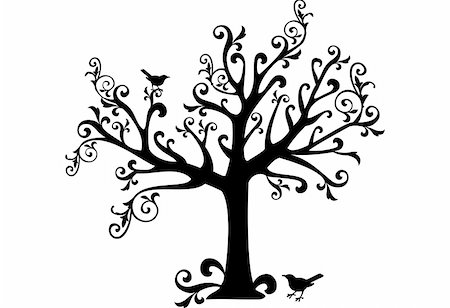 swirly - ornamental tree with swirls and birds Stock Photo - Budget Royalty-Free & Subscription, Code: 400-04039124