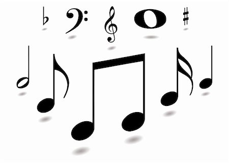 quarter note - Collection of musical notes with drop shadow in black Stock Photo - Budget Royalty-Free & Subscription, Code: 400-04033180