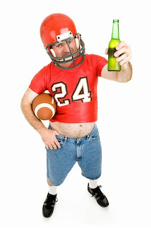fat man balls - Middle aged guy in old football uniform, enjoying a cold beer.  Full body isolated. Stock Photo - Budget Royalty-Free & Subscription, Code: 400-04044182