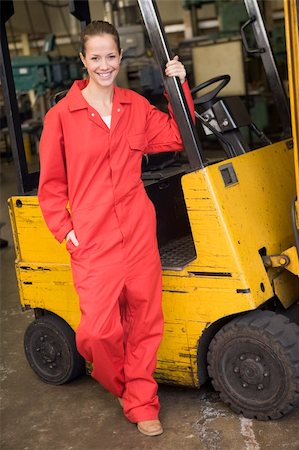 female truck driver - Warehouse worker standing by forklift Stock Photo - Budget Royalty-Free & Subscription, Code: 400-04045075
