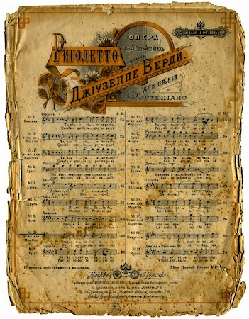 sheet music background - An antique page of sheet music...edges are burned a bit. (hi-res) Stock Photo - Budget Royalty-Free & Subscription, Code: 400-04046805