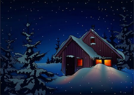 Snowy Christmas 2 - background illustration as vector Stock Photo - Budget Royalty-Free & Subscription, Code: 400-04047017