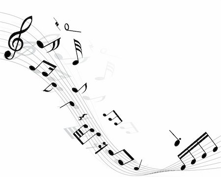 Musical notes background with lines. Vector illustration. Stock Photo - Budget Royalty-Free & Subscription, Code: 400-04040673