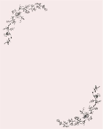 Pink paper with drawn rose decoration. Stock Photo - Budget Royalty-Free & Subscription, Code: 400-04042420