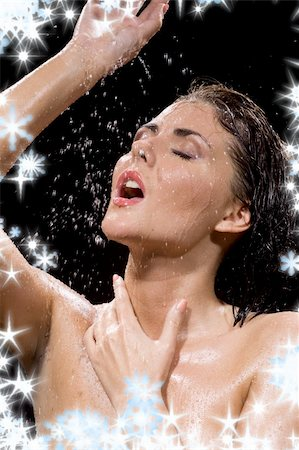 picture of wet brunette girl over black Stock Photo - Budget Royalty-Free & Subscription, Code: 400-04054310