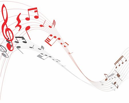 swirling music sheet - Musical note staff on the red background Stock Photo - Budget Royalty-Free & Subscription, Code: 400-04054678