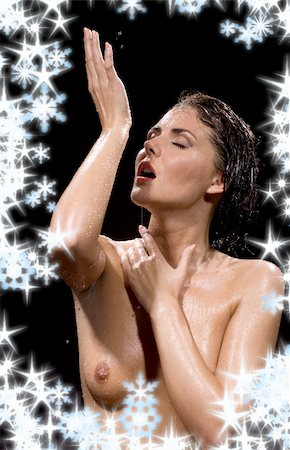 picture of wet brunette woman over black Stock Photo - Budget Royalty-Free & Subscription, Code: 400-04056229