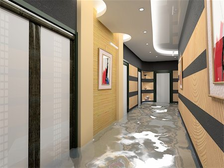 flooded homes - the flooding corridor interior (3D image) Stock Photo - Budget Royalty-Free & Subscription, Code: 400-04057625