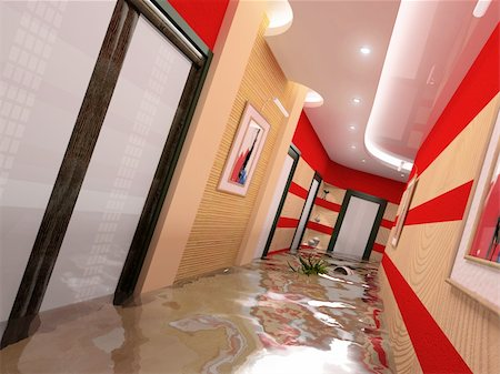 flooded homes - the flooding corridor interior (3D image) Stock Photo - Budget Royalty-Free & Subscription, Code: 400-04057626